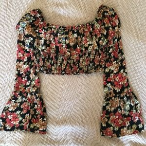 Urban Outfitters Floral Crop Top with Bell Sleeves